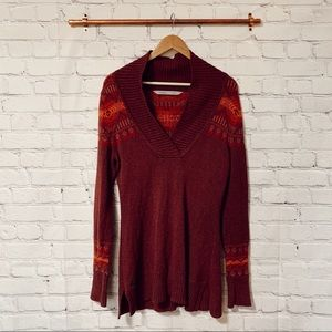 Athleta sequoyah cabin maroon tunic sweater